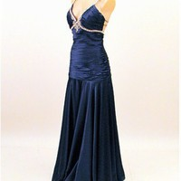 Classic 30's Style Blue Satin Old Hollywood Evening Gown-Prom Dress