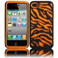 Orange/Black Zebra PC Silicone Hybrid Case Cover for Apple Iphone 4G 4 4S 4GS