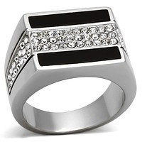 Mens Stainless Steel Rings TK1048 Stainless Steel Ring with Crystal