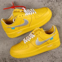 OFF White x Nike Air Force 1 AF1 Low Dark Yellow With Silver Logo Sneakers - Best Online Sale