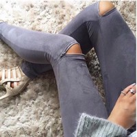 Fashion Zipper Stretch Jeans Pants Trousers