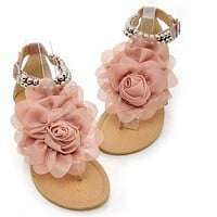 Ladies Gladiator Sandals for Women Bohemia Beaded Flower Flat Heels Flip Flops Women's Shoes Tstraps Sandals size 34-43