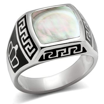 Mens Rings TK325 Stainless Steel Ring with Precious Stone in Gray