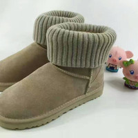 UGG Fashion Plush leather boots boots in tube Boots APRICOT