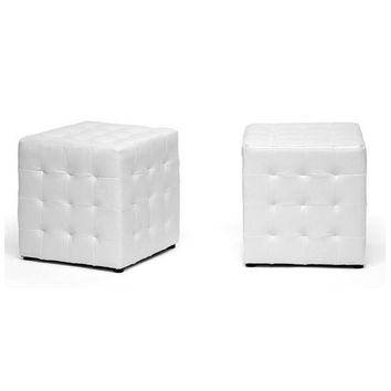 White Vegan Leather Ottoman Cube Set