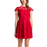 Women's Apparel | Red Dresses | Cap-Sleeve Lace Dress | Lord and Taylor