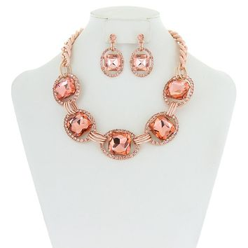 Chunky Oval Gem Link Necklace And Earrings Set