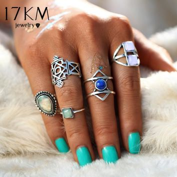 17KM 5 PCS/Set Vintage Silver Color Opal Ring Sets 2017 Unisex Knuckle Brinco Crystal Mix Midi Rings for Women Man Party Gifts
