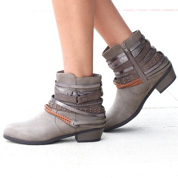 Zoey Strappy Ankle Boot {Taupe}