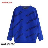 Balenciaga New fashion more letter print couple long sleeve top sweater Sapphire Blue