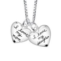 """Sterling Silver """"I Love My Mom, I Love My Daughter"""" Two Heart Pendant Necklace s, 18"""":Amazon:Jewelry"""