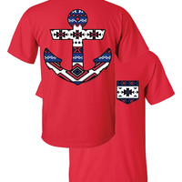 Southern Couture Aztec Anchor Faux Pocket Red Girlie Bright T Shirt