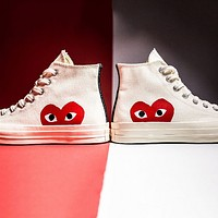 Converse Play Fashion Casual Loving Heart Reflective Sneakers High Top With Low Top Sport Shoes White