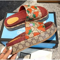 GUCCI new women's GG embroidered letter platform slippers Shoes Strawberry