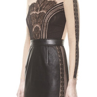 Black Long Sleeve Faux Leather Bodycon Dress with Sheer Mesh Detailed