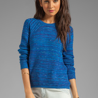 Autumn Cashmere Wavy Space Dye Crew Sweater in Blue