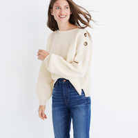 Boatneck Bubble-Sleeve Pullover Sweater