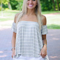 Cotton Candy Off Shoulder Top (Gray/White)