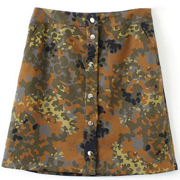 Camo Denim A-line Button Up Skirt