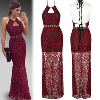 SIMPLE - Lace Red Long Backless Strap Casual Boho Dress b825