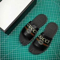 Gucci Leather Slide With Bow Black Sandals - Best Online Sale