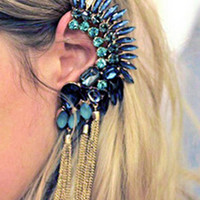 Blue Rhinestone Ear Cuff