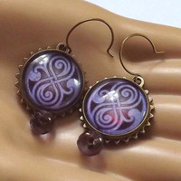 Amethyst Seal of Rassilon Antique Brass Clockwork Earrings