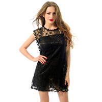 2017 New LASPERAL Summer Dress Women Sleeveless Patchwork Round Neck Sexy Lace  Mini Dress Ladies Casual Loose Beach Bar Dresses