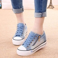 New Women's Flat Shoes Spring Summer Height Increasing Shoes Breathable Fashion Sneakers Vulcanized Shoes Woman Zapatos mujer