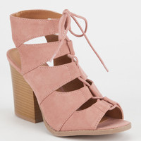 QUPID Lace Up Peep Toe Womens Booties | Boots + Booties