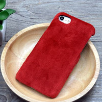 Red Winter Fur Warm Case Cover for iPhone 7 7 Plus & iPhone se 5s 6 6s Plus +Gift Box