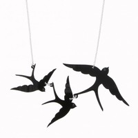 Tatty Devine triple swallow necklace | Natural History Museum Online Shop