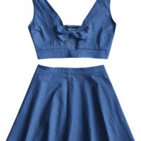 Smocked Bowknot Top with Beach Skirt