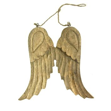 Large Hanging Wooden Angel Wings Christmas Tree Ornament, Natural, 8-Inch