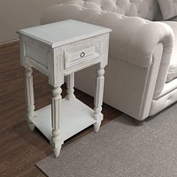 """29"""" 1-Drawer Side End Table with Fluted Legs, White By Benzara"""