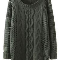 Army Green Cable Knit Sweater