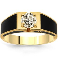 18K Solid Yellow Gold Mens Diamond Solitaire Pinky Ring 1.16 Ctw | Rings