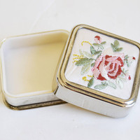 box of pills with flower embroidered, silver with flower embroidered, vintage gift, piece of collection, Box of pink pill, Floral pillbox,