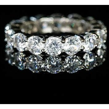 Elana Clear Diamond Eternity Stackable Ring | 8ct | Sterling Silver