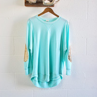 Sequin Elbow Patch Dazzle Patch Oversized Pullover Sweatshirt Jumper Mint  Sequin Patch Womens Spring Fashion Gift Idea