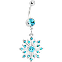 Aqua Gem Sparkling Snowflake Belly Ring | Body Candy Body Jewelry
