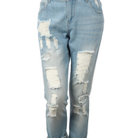 LE3NO Womens Lightweight Vintage Distressed Ripped Boyfriend Denim Jean Pants (CLEARANCE)