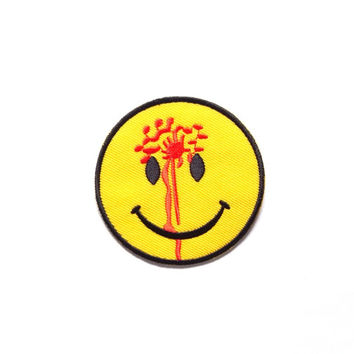 Shot Smiley Face Iron on Patch