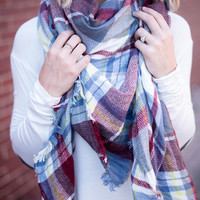 Light Blue/Burgundy Blanket Scarf