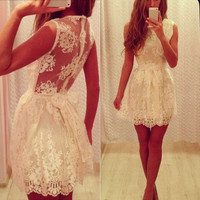 Fashion Women Lace Sleeveless Ball Gown Formal Evening Party Cocktail Mini Dress = 1946609668