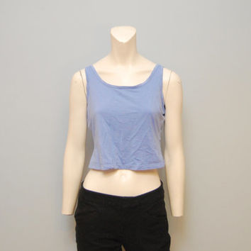Vintage 1990's Columbia Super Soft Purple Blue Crop Top T-Shirt Shirt Tshirt Tank Top Size M Medium