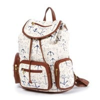 Anchor Print Canvas Backpack with Faux Leather Trim | Icing