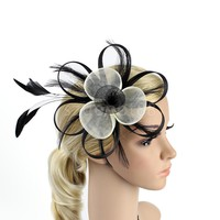 Women Net Feather Fascinator Hair Clip Great Gatsby Wedding Cocktail Ascot Race Party Hair Decor Headwear Hair Accessories