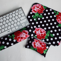 Mouse pad, keyboard rest, and mouse wrist rest set - black white dots roses floral - coworker desk cubical office accessories