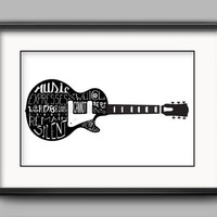 """Printable Victor Hugo Guitar Poster - """"Music expresses that which cannot be put into words and that which cannot remain silent."""""""